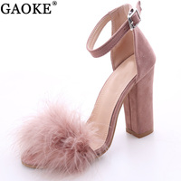 2017 Sexy Women Suede Pumps Open Toe Heels Sandals Woman Sandals Ankle Strap Fur Wedding Shoes