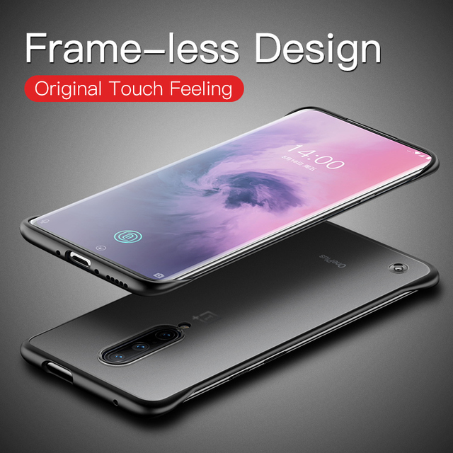 OnePlus 7 Pro Frameless Frosted Luxury Shockproof Back Case Cover With Metal Ring