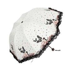 цена New Arrival Girl Umbrellas Women Rain Butterfly Fairy Umbrella Modern Fashion Women's Umbrella Lace Female Parasol Gift US068 онлайн в 2017 году