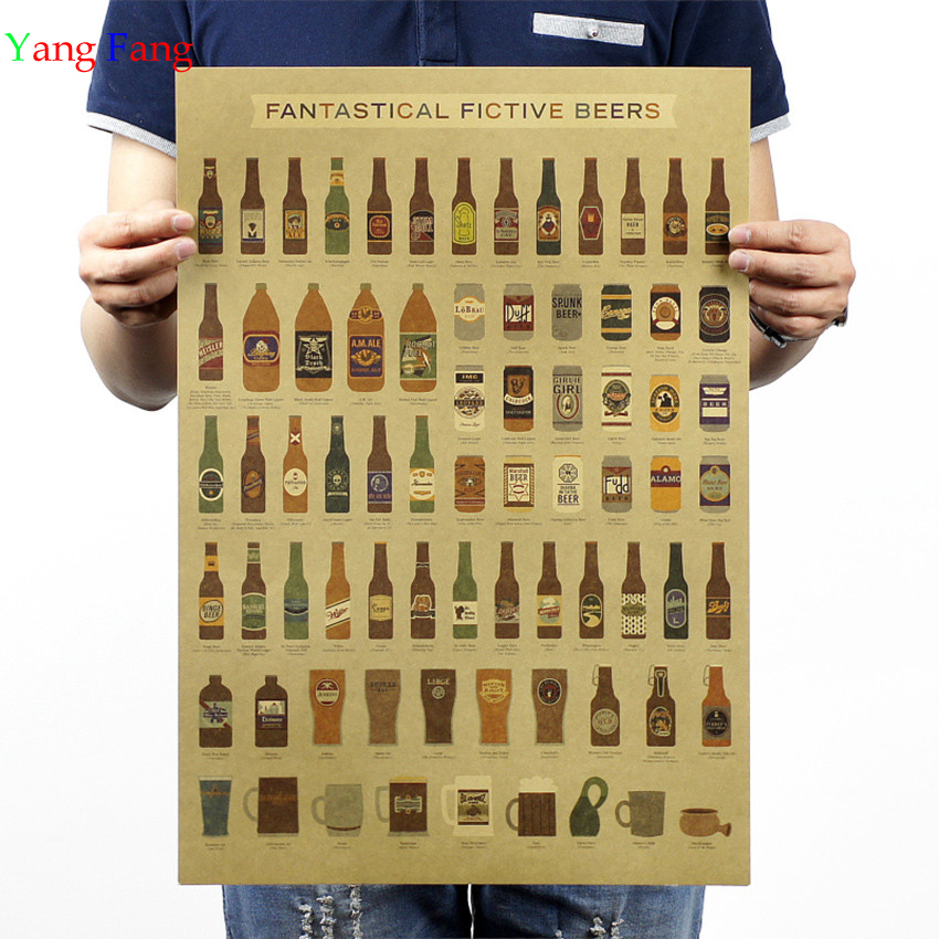 Beer Encyclopedia of Graphic Evolutionary History Bar Counter Adornment Kitchen Retro Vintage Poster Wall Sticker 51X35cm