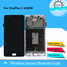 "AMOLED Original M&Sen 5.5"" For Oneplus Three OnePlus 3 One Plus3 A3000 A3003 LCD Screen Display+Touch Panel Digitizer With Frame"