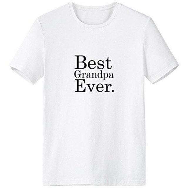 5127ec0f7 Best Grandpa Ever Words Quotes Family Love Creative Design Crew-Neck White T -shirt Spring and Summer Tagless Comfort Cotton Spor