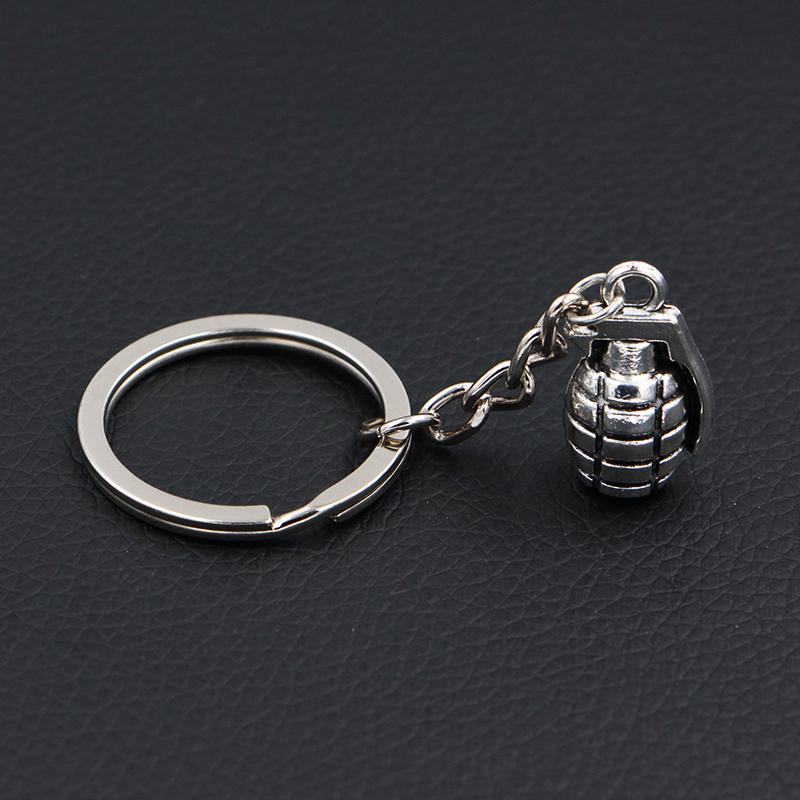 2018 New Fashion Creative Novelty Gift Keychains Rings DIY Handmade Vintage Silver Military 3D Hand Grenades Key Chains