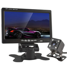 7 Inch TFT LCD Color Car Rear View Headrest Monitor VCR DVD 420 TV Lines 170 Degrees Wide Angle Lens Night Vision Camera