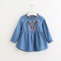 Girls Jean Floral Dress Spring Kids Ruffles Dress With Embroidery Floral Girls Dresses Summer England Dress