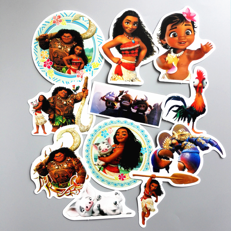 TD ZW 11 Pieces/lot  Moana Maui Waialik Heihei Sticker For Car Laptop Bicycle Notebook Backpack Waterproof Stickers Toy Stickers