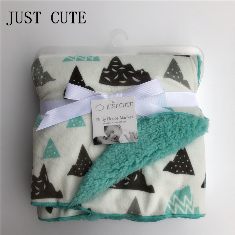 JUST CUTE New Baby blankets thicken double layer coral fleece infant swaddle bebe envelope wrap newborn baby bedding blanket sanky home 2017 new arrival brand blanket 1pc coral warm blankets fleece soft throw blanket solid blanket on bed 150x200cm thick