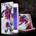 Para sony xperia m2 aqua case padrão dos desenhos animados titular do cartão de couro carteira capa flip case para sony xperia m2 aqua tpu interior case