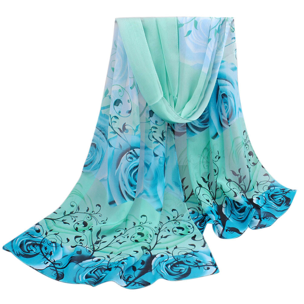 Women Beautiful Rose Chiffon Wraps Scarf luxury brand Shawls and scarves Summer Ladies tops