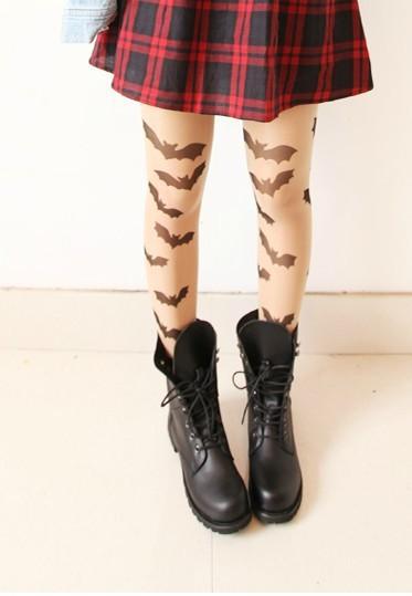 Gothic lolita medias HARAJUKU estilo japonés pantys Vintage sexy halloween pantimedias delgada bat tatuaje medias para las muchachas