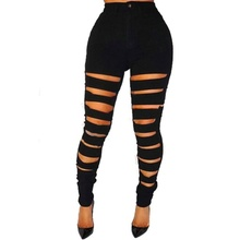 Womens Fashion High Waist Sexy Slim Casual Broken Holes Black Denim Mom Jeans Pencil Ripped for Women M-2XL