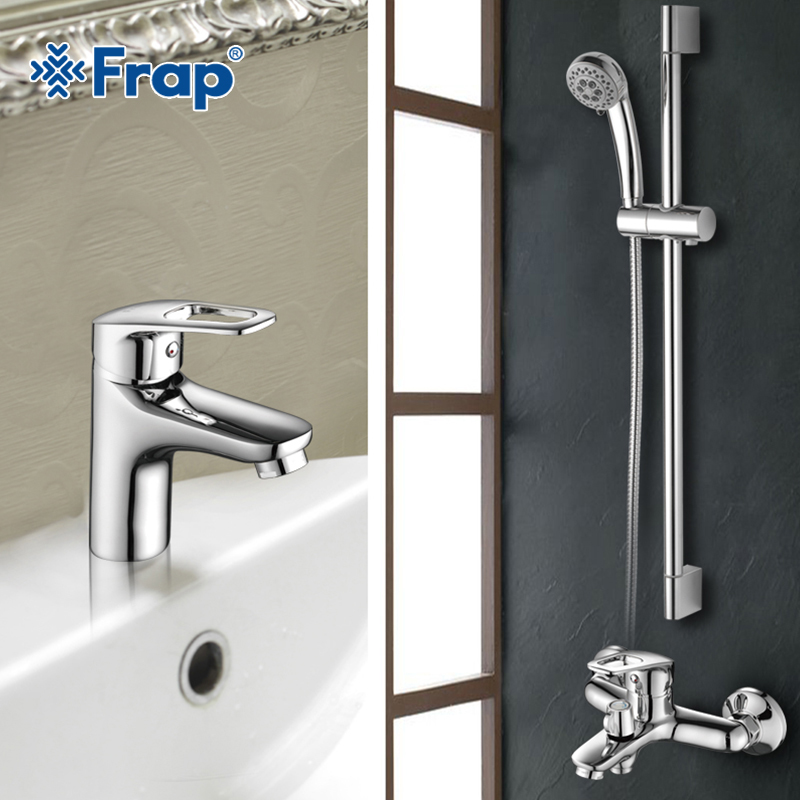 Frap New Bathroom Combination Basin Faucet Shower Tap Single Handle Cold and Hot Water Mixer with Slide Bar Torneira F2823