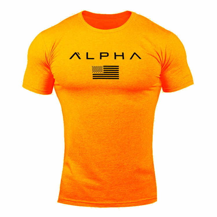 ALPHA New Brand Clothing Gyms Tight T-shirt Mens Fitness T-shirt Homme Gyms T Shirt Men Fitness Summer Top Tees S-XXL