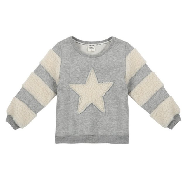 Spring Autumn Baby Girls Warm Pullover Kids Girl Child Long Sleeve Star Pattern Wool Fleece Sweater Grey