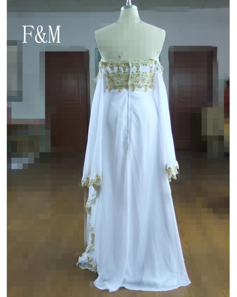 e62c926d3f2 Custom Made Real Photo Formal Dress With Gold Lace White Chiffon Long  Maternity Plus Size Evening Dresses 2016 New Arrival-in Evening Dresses  from Weddings ...