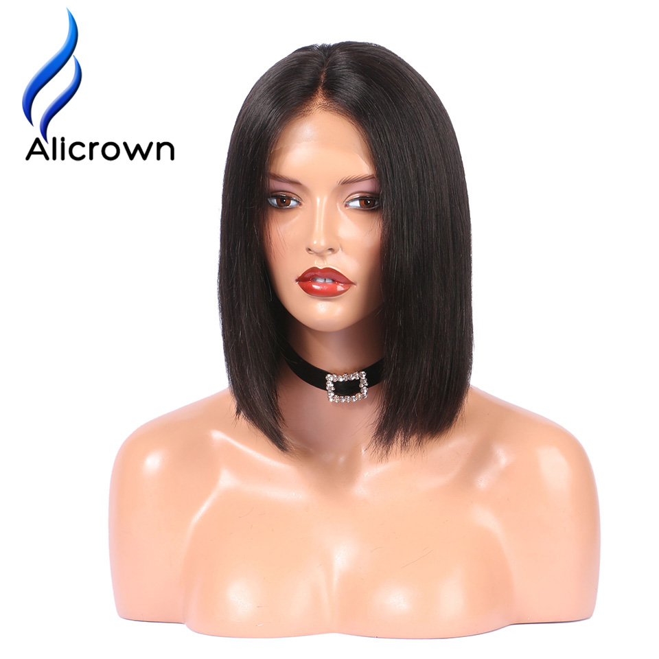 Alicrown Lace Front Human Hair Wigs For Black Women Straight Full End Brazilian Remy Hair Short