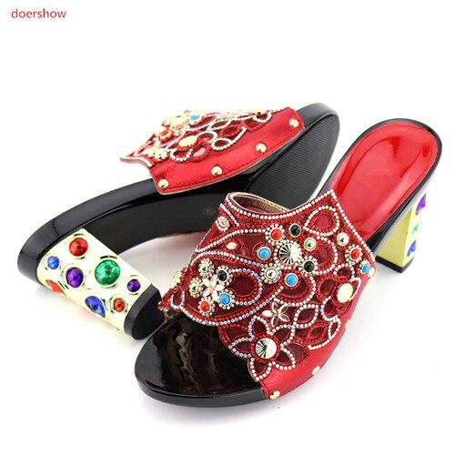 Hermosos Set rojo Doershow Zapatos azul Oro Real La Señoras Para Las Calidad Fiesta Sandalias Azul Caliente Venta De Sxc1 púrpura Africano Color Garantizada 7 77xrqaA