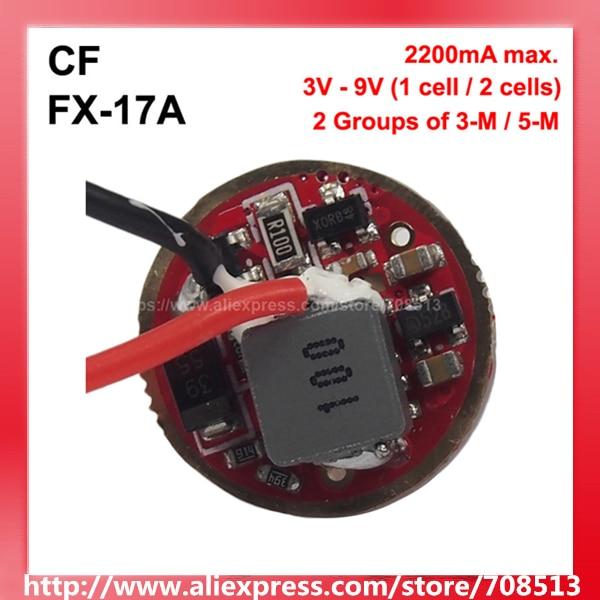 CF FX-17A 17mm 3V - 9V 2.2A 1 Cell Or 2 Cells 2 Groups 3 To 5-Mode Driver Circuit Board For Cree XM-L XP-L XHP50 MT-G2 ( 1 Pc )