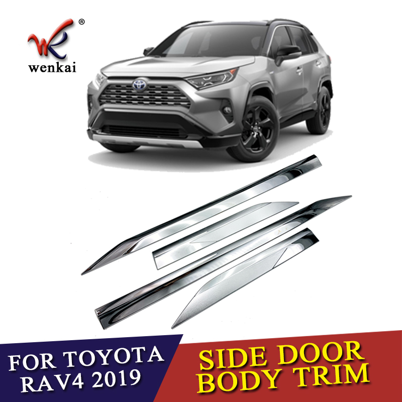 ABS Chrome Door Body Molding Fit For Toyota <font><b>RAV4</b></font> 2019 <font><b>2020</b></font> Car Accessories Side Strips Trim Cover image