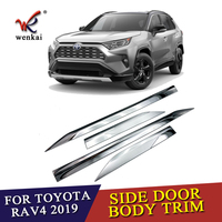 ABS Chrome Door Body Molding Fit For Toyota RAV4 2019 2020 Car Accessories Side Strips Trim Cover