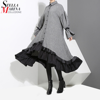 2017 Winter Women Plus Size Gray Shirt Dress Long Sleeve Patchwork Bottom With Sloping Ruffle Cute
