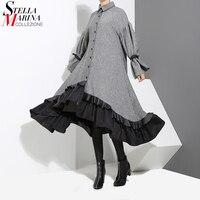 2018 Winter Women Plus Size Gray Shirt Dress Long Sleeve Patchwork Bottom With Sloping Ruffle Cute Wear Party Dress Vestido 3073