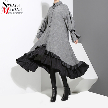 2020 Autumn Winter Women Plus Size Gray Shirt Dress Midi Long Sleeve Patchwork Thick Warm Ruffled Elegant Party Dress Style 3073