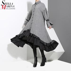Image 1 - 2020 automne hiver femmes grande taille gris chemise robe Midi à manches longues Patchwork épais chaud à volants élégant robe de soirée Style 3073