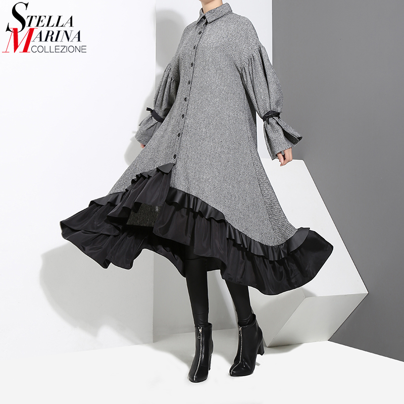 New 2019 Winter Women Plus Size Gray Shirt Dress Long Sleeve Patchwork Warm Wear Ruffled Elegant Party Dress Vestidos Style 3073