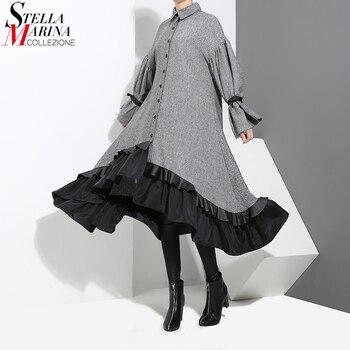 Nuevo 2020 Otoño Invierno vestido camisa gris de talla grande para mujer Vestido de manga larga Patchwork grueso cálido Ruffled elegante vestido de fiesta estilo 3073