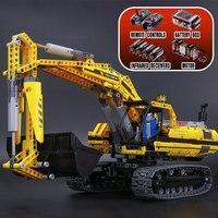 Лепин 20007 метод моторизованный экскаватор строительные блоки электродвигателей Мощность функции Модель Кирпичи Совместимость Legoed 8043 игру