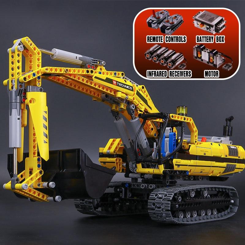 Lepin 20007 Technic Motorized Excavator Building Blocks Electric Motors Power Functions Model Bricks Compatible Legoed 8043 Toys 196pcs building blocks urban engineering team excavator modeling design