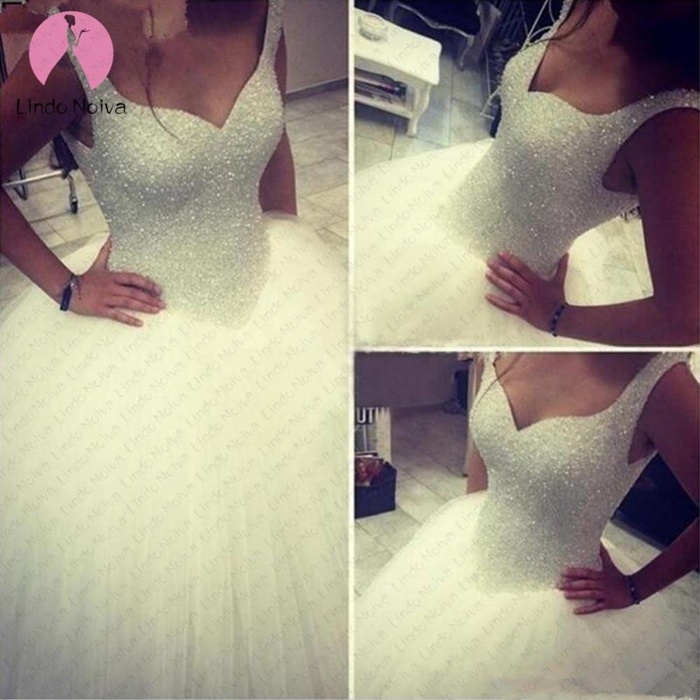 Robe De Mariage Sweetheart Lace Up Ball Gown Wedding Dress 2019 Fashion Luxury Beading Bride Gown Vestido De Noiva Plus Size