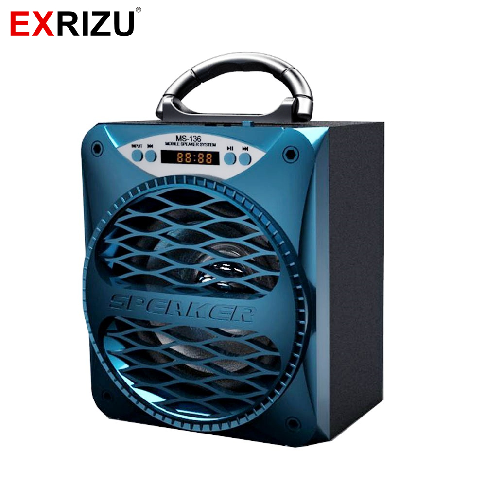 EXRIZU MS-136BT Portable Wireless Bluetooth Speakers 15w Outdoor LED Light Speaker Subwoofer Super Bass Music BoomBox TF Radio zealot s5 ii boombox bluetooth speakers active column portable mini speaker outdoor wireless music subwoofer tf card slot