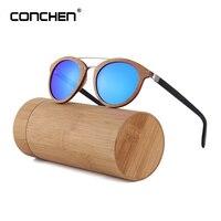 CONCHEN New Luxury Sunglasses Wood Frame Acetate Temple Men Sun Glasses Women 2018