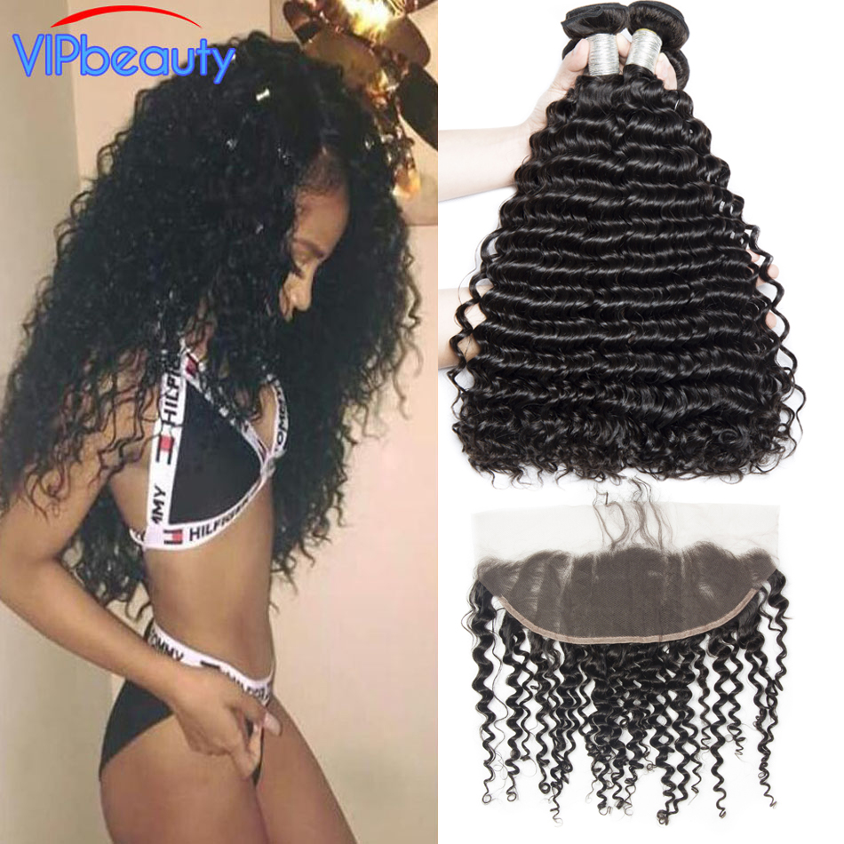 Malaysian deep curly pre plucked 13x4 lace frontal closure with bundles vip beauty remy hair human hair bundles with closure