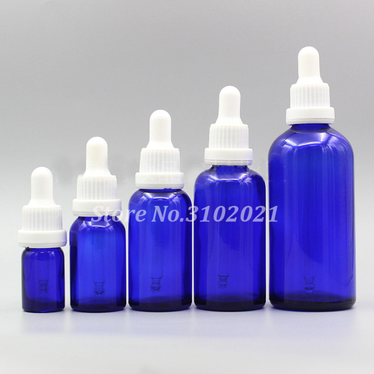 9a13acd1d323 US $9.1 18% OFF|2/10pcs 5ml 10ml 15ml 20ml 30ml 50ml 100ml Empty DIY  Cosmetic Blue Glass Essential Oil Bottles with Black Dropper Cover  Pipette-in ...
