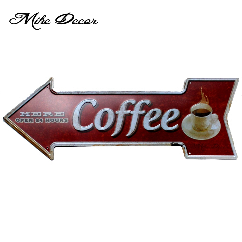 [ Mike Decor ] Coffee Here 24 hours Vintage Classic Arrow painting Retro Gift Craft Irregular sign Cafe decor YC-616 Mix order