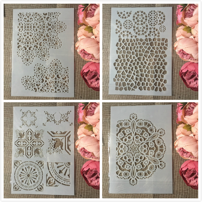 4Pcs/Set A4 Circle Edge Background Flower DIY Layering Stencils Painting Scrapbook Coloring Embossing Album Decorative Template