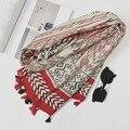 Женщины Хлопок Шарф Черный Чувство Долго Шаль Большой Геометрическая Стильный Одеяло Шарфы новый 2017 [1871]