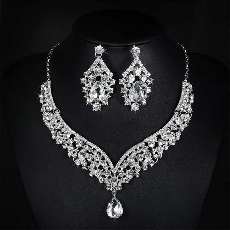 Earring and necklace sets shine AAA cubic zirconia & austrian crystal wedding jewelry sets for brides fashion elegant gift D022