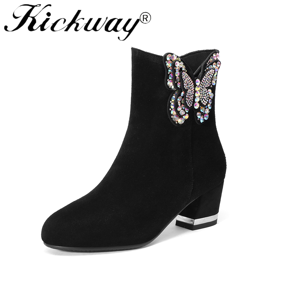 Kickway 2018 Western Style Women Boots Square High Heel Ankle Boots Zippers Cow Suede Casual Platform Ladies Shoes Size 34-43 nikove 2018 zippers solid women boots vintage style ankle boots square high heel square toe ladies fashion boots size 34 39