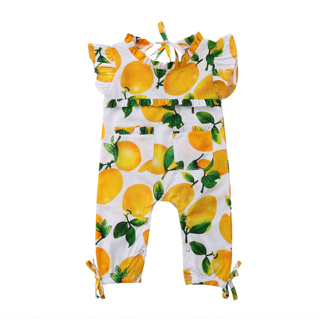 eef3b2572ff 0-3Y Cute Newborn Baby Girl Ruffles Sleeveless Lemon Print Long Romper  Jumpsuit Outfits Sunsuit