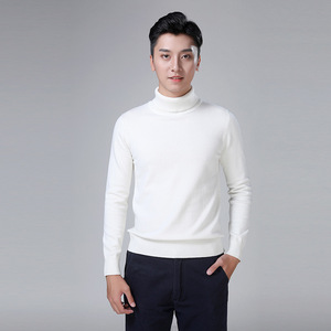 Image 2 - 100% cotton sweater mens 2018 winter turtleneck Long sleeve sweater Thicken Solid color sweater cotton slim bottoming shirt 866