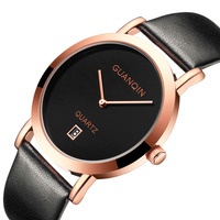 Couple Watch GUANQIN Men Women Watch Simple Date Ladies Female Quartz Clock With Leather Strap Relogio Feminino Montre Femme