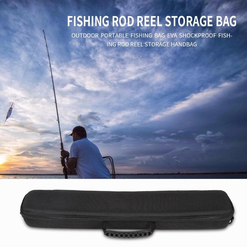 Portable Black Fishing Bag 2019 New EVA Shockproof Fishing Rod Reel Hard Shell Pack Fishing Tackle Storage Bag Case for Pesca Fishing Bags     - title=