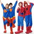 Pares de la manera animal de la historieta pijamas Superman Spiderman Traje adulto Pijama de dormir de las señoras de lana ocasional mono de una pieza