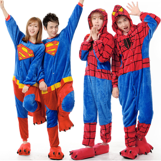 fashion couple cartoon animal pajamas Superman Spiderman Costume adult Pyjamas casual fleece nightwear ladies jumpsuit one piece