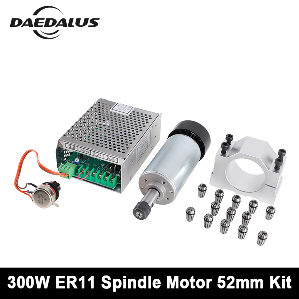 цена на 300W Air Cooled Spindle ER11 CNC Spindle Motor + Adjustable Power Supply+52mm Clamp+ 13pcs Collet For Engraving Milling Machine