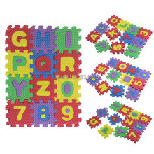Free Shipping 36PCS Baby Child Split Joint Number Alphabet EVA Foam Puzzles Mat Maths Letters Educational Baby Toy Gift Play Mat(China)
